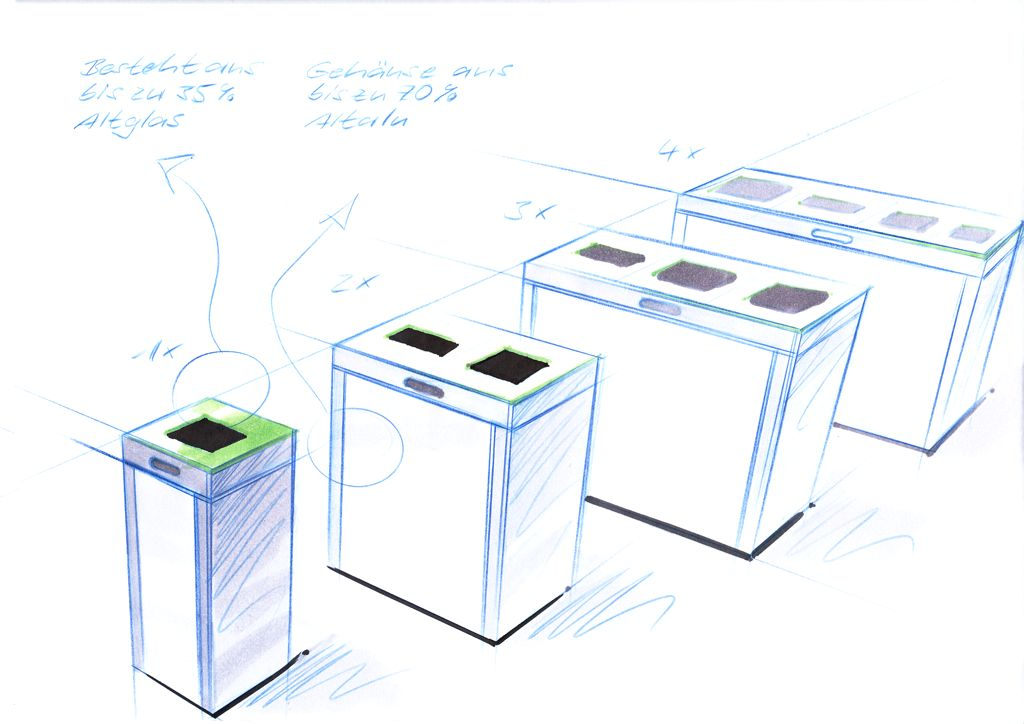 Design Skizze Recyclingstation Multilith-Serie, Wertstofftrenner, , Public Waste bins, Poubelle Recyclage, Design Thinking, Design Doing