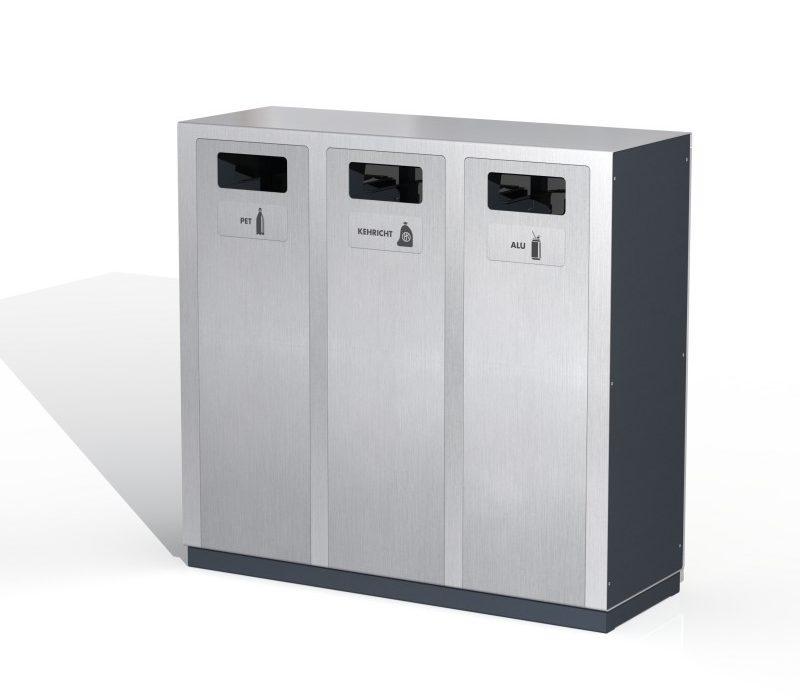 Recyclingstation W3, Entsorgungssystem, Aussen, PET Recycling, Abfall, Alu, Abfallbehälter, Public Waste bins, Poubelle Recyclage