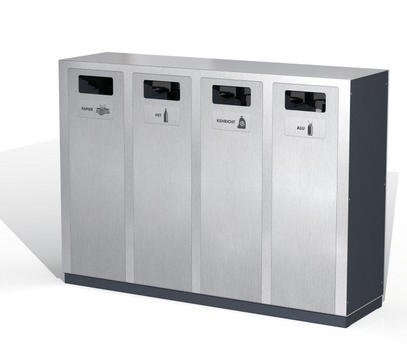 Recyclingstation W4, Entsorgungssystem, Aussen, PET Recycling, Abfall, Alu, Abfallbehälter, Public Waste bins, Poubelle Recyclage