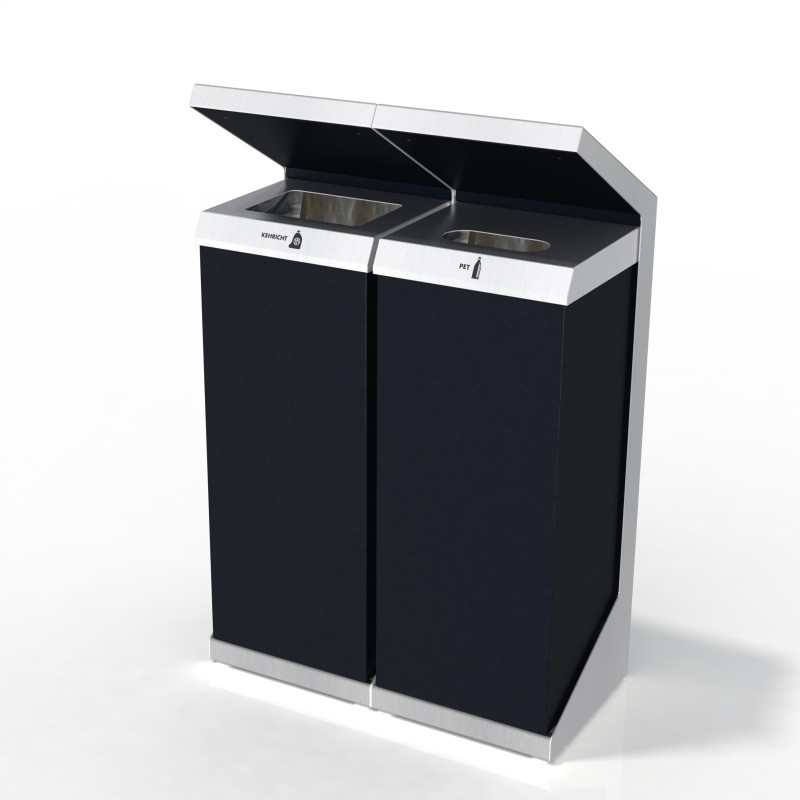 Entsorgungssystem, Abfallmobiliar, Recyclingstation Q-Serie, Recycling Station, Wertstofftrenner, Wertstoffbehälter, PET, 110 Liter, Public Waste Bin, Poubelle Recyclage,
